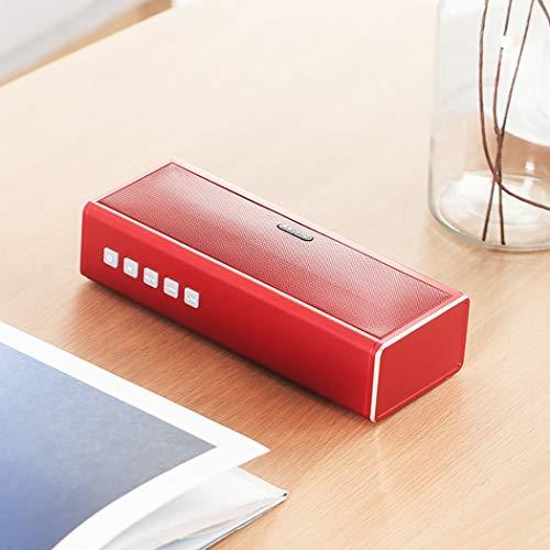 RAPLANC Bluetooth-Lautsprecher, tragbarer drahtloser HiFi-Lautsprecher mit Zwei Subwoofern, Stereo-Sound, USB- und AUX-Eingang und 4000-mAh-Powerbank, eingebautem Mikrofon,Rot 2 Schallköpfe