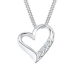 Diamore Damen Halskette mit Herz Anhänger in 925 Sterling Silber mit Diamant (0,06 ct.) 45 cm lang