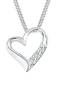 Diamore Damen-Halskette 925 Sterlingsilber Herz mit Diamanten 45 cm