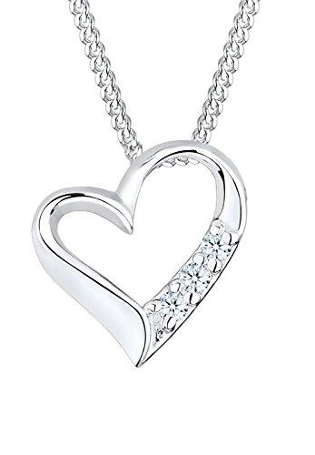Diamore Halskette Damen Halskette mit Herz Anhänger in 925 Sterling Silber mit Diamant (0.06 ct.) 45 cm lang