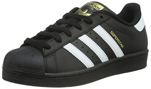 70er Jahre Leder Schwarz (adidas Unisex-Kinder Superstar Foundation Low-Top Sneaker - Schwarz (Core Black/Ftwr White/Core Black) , 38 2/3 EU)
