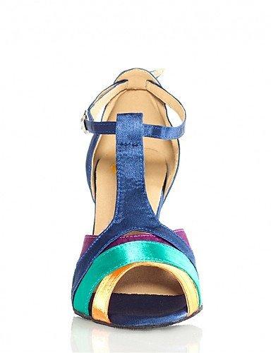 shangyi pas personnalisables–Stiletto–Satin–Latin–Femme Bleu - bleu