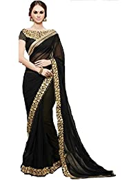 Onlinehub Women'sGeogette Material Latest Best Wholsel Prise Sarees With 1 Blouse Piece(Black Heavy Blouse) VICHITRA