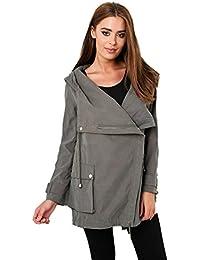 Faux Suede Hooded Jacket in Khaki 14