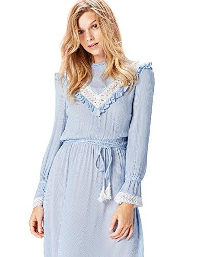 (FIND Damen Maxi-Spitzen-Kleid , Blau (Blue Striped), 36 (Herstellergröße: Small))