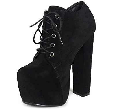 WOMENS LADIES BLACK LACE UP CONCEALED PLATFORM BLOCK HIGH HEEL SHOES BOOTS 6