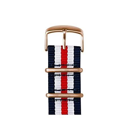 Roobaya   Bracelet premium pour Apple Watch en nylon Nato, bleu foncé/blanc/rouge   adaptateur assorti à l'Apple Watch inclus, Couleur de boîtier:Or rose aluminium, Taille:42 mm
