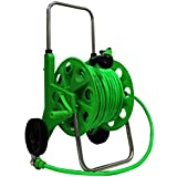 AquaHose Car & Bike Cleaning Water Pipe Hose Reel 30 Mtr (100 Feet) Wheeled Set Folding Handle Revolving Type With ISI Marked Green Hose Pipe