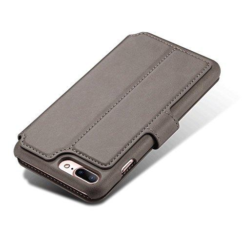 iPhone Case Hülle Kunst Leder Brieftasche mit Kartenfächer iPhone 6/6S/7/6 Plus/6S Plus/7 Plus 4,7/ 5,5 Zoll Geldscheinfach Premium Börse Tasche Handy Schutzhülle,6 Farben Grau