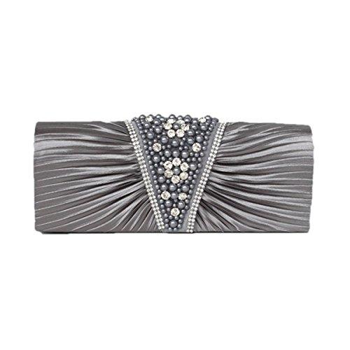 Frauen-Kupplungs-Umschlag Mit Drop-In-Kette Schultergurt Grey
