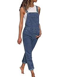 Salopette Denim sans Manches Femme - Sunenjoy Bretelles Combishort Jumpsuit Loose  Casual Jeans Bodysuit Playsuit Large Ample Harem Sarouel… e83dbc122e8