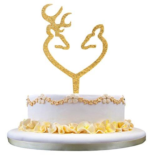 Hochzeitstorte Toppers Hirsch (Hirsch Paar Herz Silhouette Hochzeitstorte Topper (Glitter Gold))