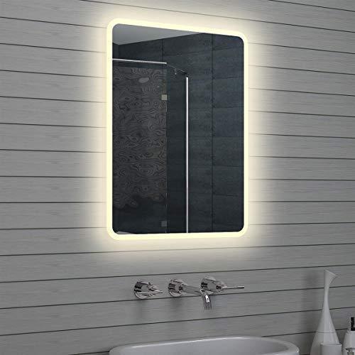 Lux-aqua - Espejo de baño con luz led, 80 x 60 cm