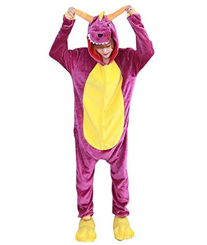 Lazutom Tier Cosplay Kostüme Onesies Pyjama Halloween Party Unisex-Adult Onepiece Nachtwäsche Weihnachten (XL, Purple - One Piece Dragon Kostüm