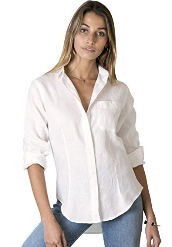 CAMIXA 100% Casual Hemd aus Leinen, Slim Fit, Button-Down, luftige Basic Bluse L Elfenbein