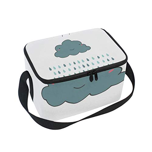 SKYDA Lunchpaket Box Insulated Lunchpaket Bag Large Cooler Rain Cloud Tote Bag for Men, Women, Girls, Boys (Womens Rain Insulated)