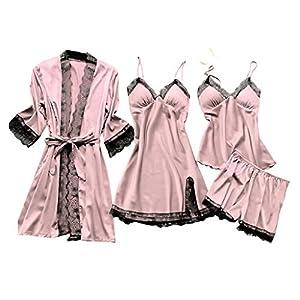 Deloito 4 Stück Dessous Set Damen Kunstseide Spitze Negligee Robe Nachtkleid Babydoll Nachtwäsche Nachthemd Pyjamas Schlafanzug Reizwäsche Vierteiliger Anzug