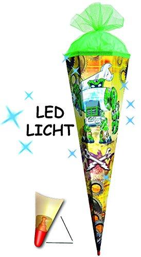 alles-meine.de GmbH LED Licht Effekt _ ! - Schultüte -  Roboter  - 85 cm / 6 Eckig - Organza Abs..