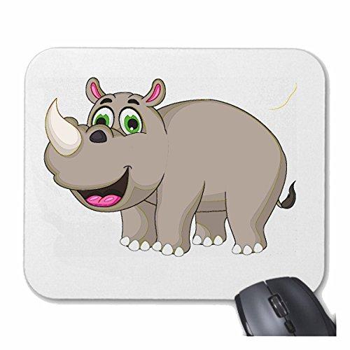 Reifen-Markt Mousepad (Mauspad) LUSTIGES NASHORN RHINOZEROS Rhino NASHÖRNER UNPAARHUFER SPITZMAUL NASHORN für ihren Laptop, Notebook oder Internet PC (mit Windows Linux usw.) in Weiß