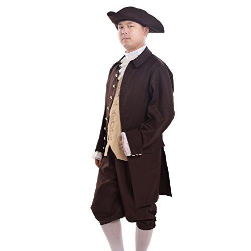 BLESSUME Jahrgang Männer Rokoko Cosplay Anzüge Kolonialen Revolution Kostüm Uniform Outfit (L, Braun) (Kolonialen Kostüme Halloween)