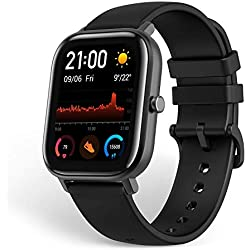 Amazfit, Smartwatch Fitness Tracker with Built-in GPS, 5ATM Waterproof, Heart Rate, Music, Smart Notifications, iOS, Black