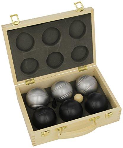 Weiblespiele 010208 - Boules-Set in Holzkiste, 6-teilig, schwarz/silber