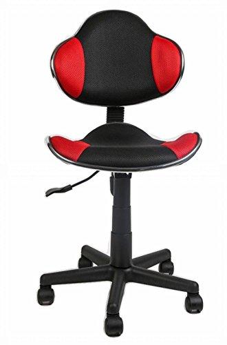 kleiner Drehstuhl Arbeitshocker Büro Arbeitsplatz mit Rücken-Lehne und Sitzmulde, Bürostuhl höhenverstellbar ohne Armlehne mit Netzbezug - atmungsfähig