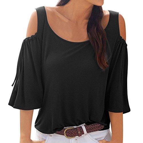 nfarbig BeiläUfiger Verband Der Frauen Schulterfreies T-Shirt Halbe HüLsenoberteile Bluse(L,Black) ()