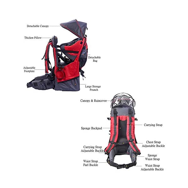 Lixada Baby Backpack Hiking Toddler Child Holder Backpack with Sunshade Visor  Bearing capacity up to 55lb. Padded sitting compartment with safety belt and back cushion. Comfortable for baby to put feet on with kickstand. 2