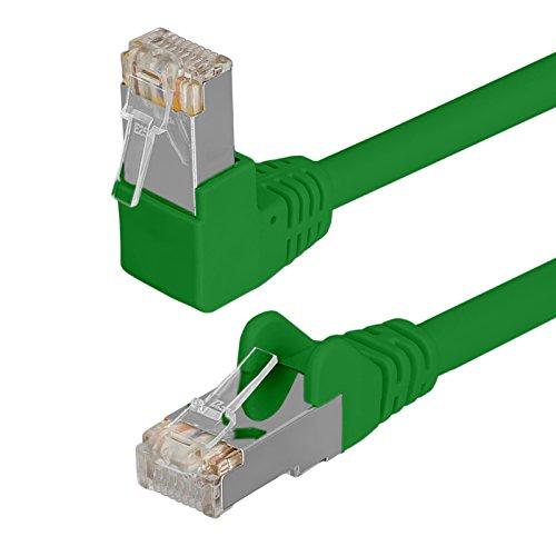 HB Digital Netzwerkkabel LAN Kabel 90° Winkel RJ45 Stecker 0,25m 25cm cat 6 Grun Kupfer Profi S/FTP PIMF LSZH Halogenfrei RoHS cat. 6 Cat6 AWG 27/7 RJ45 Port Ethernet Netzwerk AWG27 Patchcable