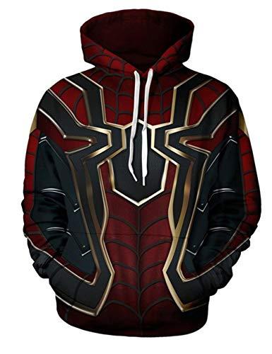 DaricowathX Herren Superheld 3D Spider-Man Hoodie Cosplay Kostüm Kapuzenpullover Mit Tunnelzug Sweatshirt Costumes(XL - Spiderman Kostüm Hoodie
