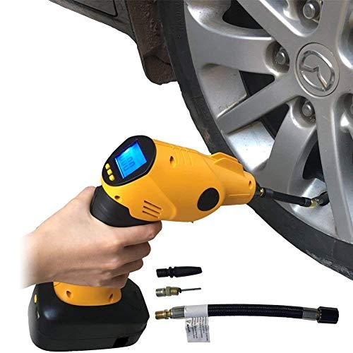 Tragbarer Luftkompressor Elektro-Schropfen mit digitaler Druckmessung LCD-Display LED Light,4Düsen-Adapter für Auto-Fahrrad-Motorräder