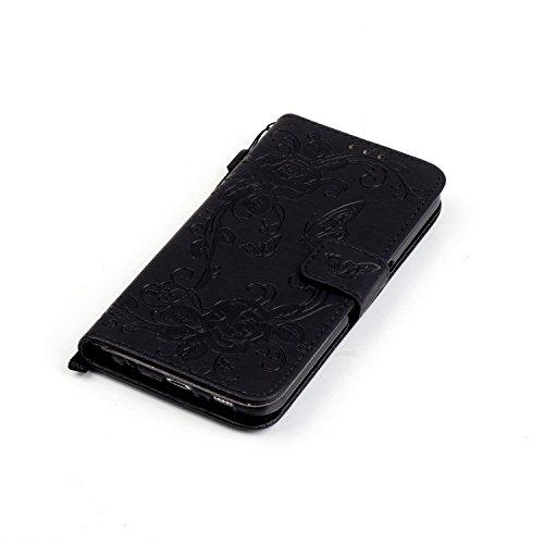Coque pour Apple iPhone 6S/ 6 4.7 Zoll ,Housse en cuir pour Apple iPhone 6S/ 6 4.7 Zoll ,Ecoway étui en cuir PU Cuir Flip Magnétique Portefeuille Etui Housse de Protection Coque Étui Case Cover avec S Noir
