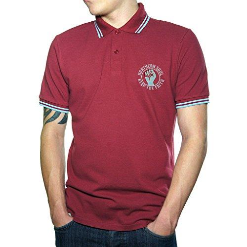Keep The Faith ricamato Polo da uomo Fashion T-Shirt pesante qualità. Burgundy Medium