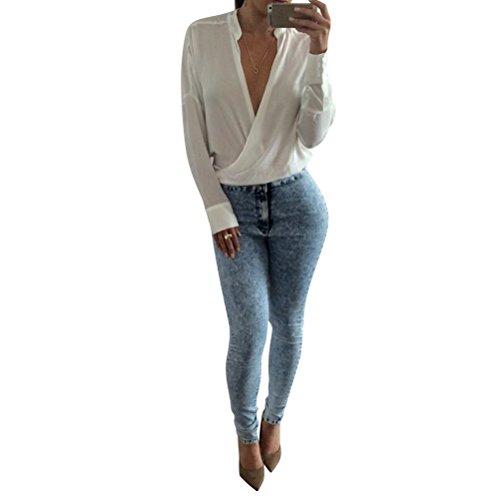 Nlife Frauen Sexy Deep V Hals Stand Kragen Langarm Shirt Tops Bluse Tee White