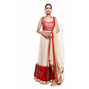 Pushp Paridhan Party Wear Traditional Ethnic Wear Machine With Hand Work Red and Peach Color Lehenga Choli Set For Women