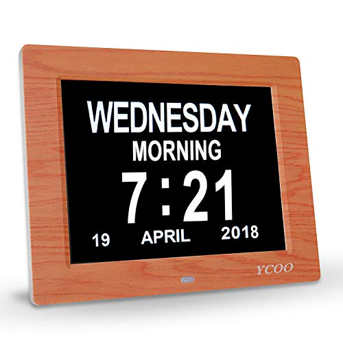 (Beige White) - 20cm Digital Calendar Clock,Memory Loss Day Clock - Electronic Digital Clock with Large HD LCD - Desk clock,Wall Clock Excellent for Impaired Vision,12 Alarm Options(Brown Wood Colour) (Memory Clock)