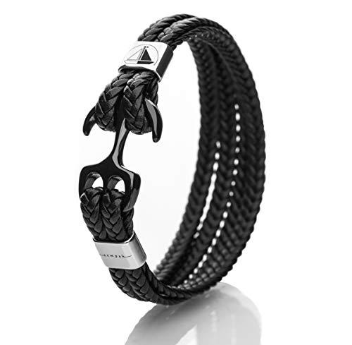 SEMPAH Armband Anker Herren aus hochwertigem Kunst-Leder mit Edelstahl Anker Schwarz/Silber 21cm Länge inkl. Geschenkbox (21)