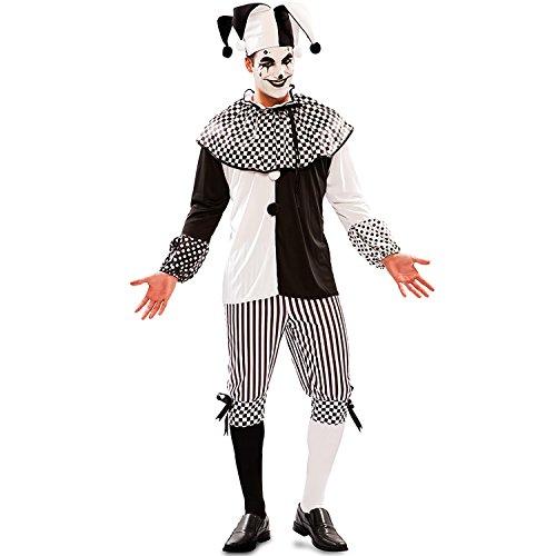 Schwarz Clown Kostüm - EUROCARNAVALES Herren Kostüm Harlekin Piper Schwarz Weiß Clown Pierrot Fasching Karneval (48)