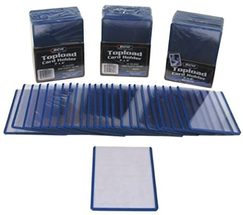 100 BCW Brand Trading Card Topload Holders - Rigid Plastic Sleeves - Blue Border - BCW-TLCH-BL (Toploaders, Top Load) by BCW