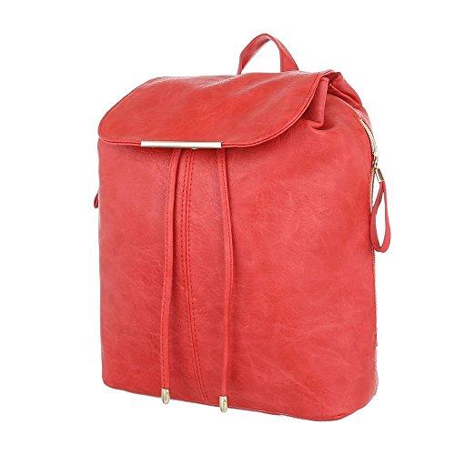 iTal-dEsiGn Damentasche Mittelgroße Rucksack Schultertasche Used Optik Kunstleder TA-9901-1 Rot