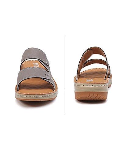 CHAOXIANG Pantofole Da Donna Antiscivolo Ciabatte Piatte Sandali Da Surf Nuova Estate Ciabatte Spiaggia ( Colore : Grigio , dimensioni : EU36/UK4-4.5/CN37 ) Grigio