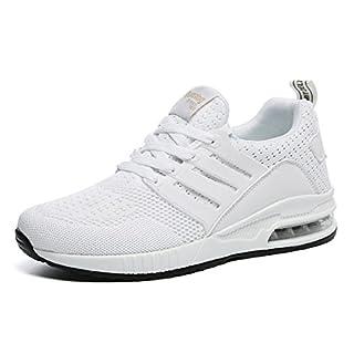 tqgold Herren Damen Sportschuhe Laufschuhe Bequem Atmungsaktives Turnschuhe Sneakers Gym Fitness Leichte Schuhe (Weiß,Größe 43)