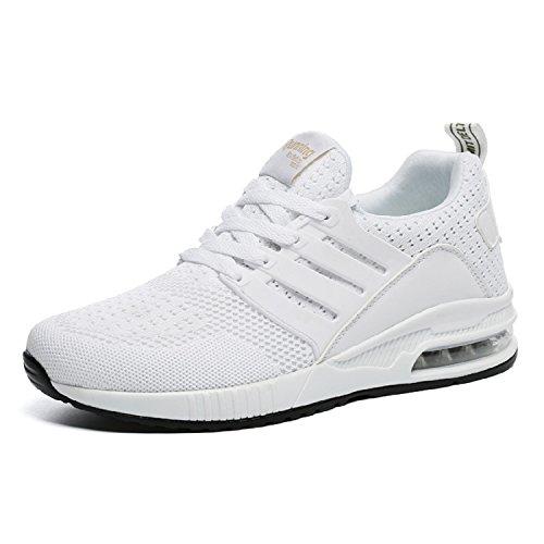 tqgold Herren Damen Sportschuhe Laufschuhe Bequem Atmungsaktives Turnschuhe Sneakers Gym Fitness Leichte Schuhe (Weiß,Größe 44)