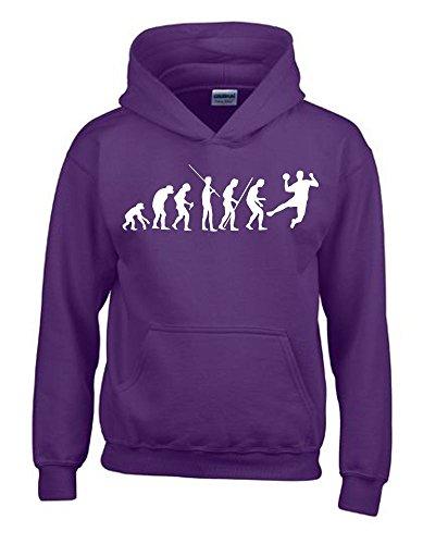 HANDBALL Evolution Kinder Sweatshirt mit Kapuze HOODIE lila-weiss, Gr.164cm