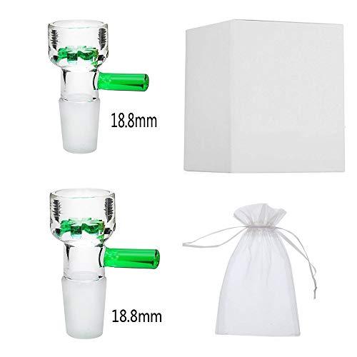 JINNUO Glas Bong Bowl 2 Stücke 14,5 mm / 18,8 mm Glasschüssel Männlich Mit Schnee Bildschirm Schüssel Tabak Schüssel Pfeifen (Grün, 18.8MM)