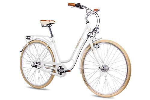CHRISSON 28 Zoll Retro Citybike Damen - N Lady 3G Weiss - Damen-City-Fahrrad mit Shimano Nexus 3 Gang Nabenschaltung im Retro Design, Vintage Damenfahrrad mit Rücktrittbremse und Gepäckträger