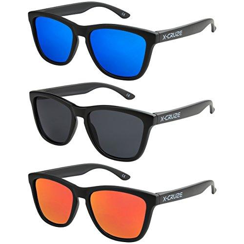 X-CRUZE 3er Pack X0 Nerd Sonnenbrillen polarisierend Vintage Retro Style Stil Unisex Herren Damen Männer Frauen Brillen Nerdbrille Nerdbrillen - schwarz matt LW - Set E -