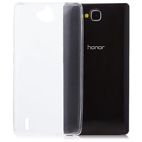Huawei Honor 3C | iCues Ultra Slim TPU Case Klar | [Display Schutzfolie Inklusive] Extra Leicht sehr Dünn Transparent Klarsichthülle Durchsichtig Klare Klarsicht Silikon Gel Schutzhülle Hülle Cover Schutz