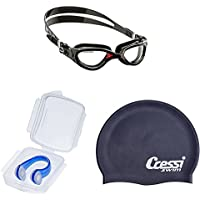 d6045e67b5 Cressi Adult Flash Swimming Goggles with Nose Clip and Silicone Cap